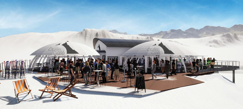 Arcs 2000 Bulle café projet terrasse - Ciel Architecture