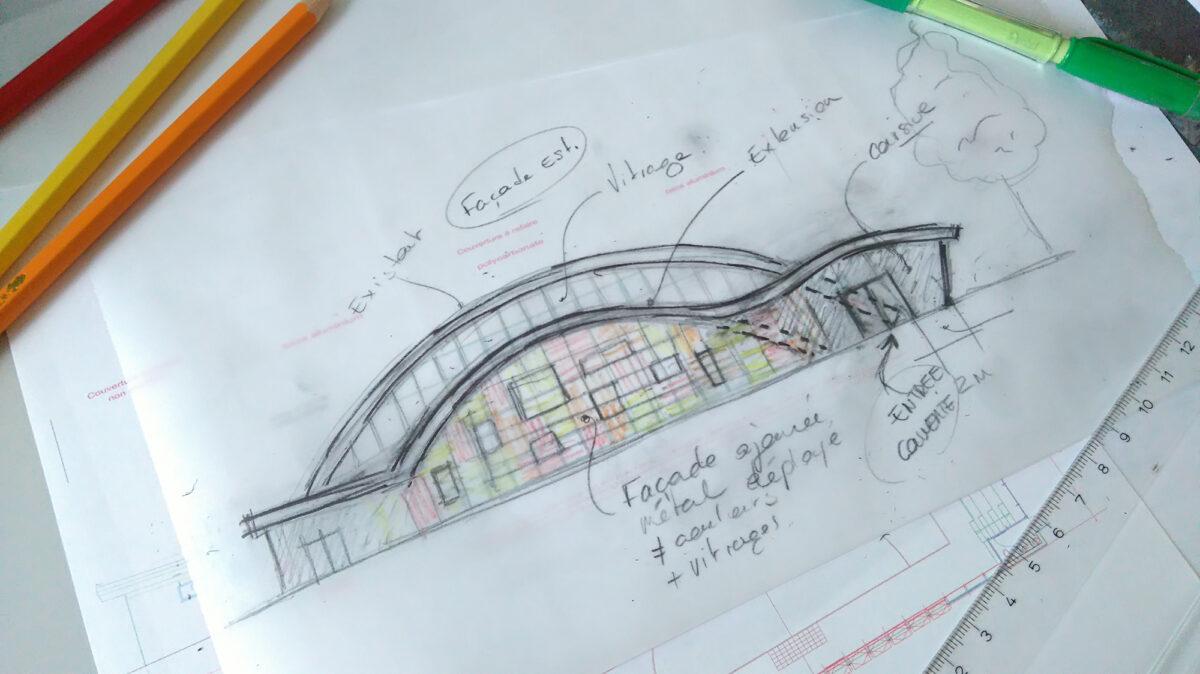 Gymnase Aix-les-Bains croquis - Ciel Architecture