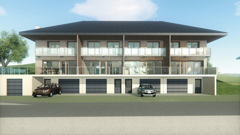Logements Rehabilitation Leschaux Perspective Face Vue 3D Atelier Ciel Architecte