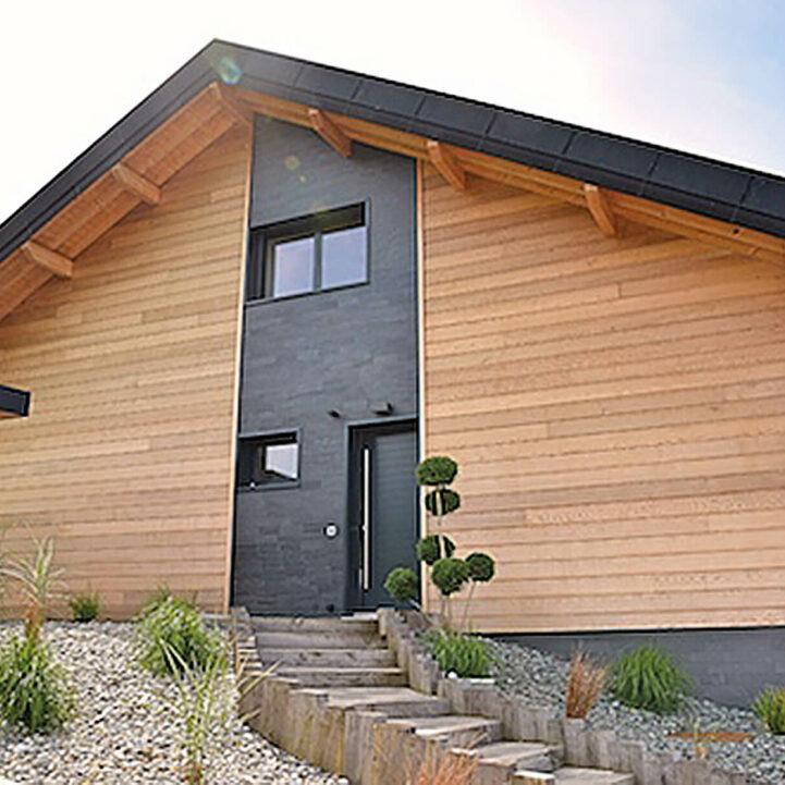 Chalet Maison Saint-Ours ossature bois Entrée- Ciel Architecture