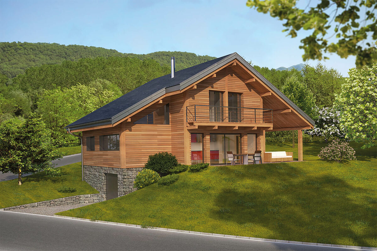 Chalet Maison Saint-Ours ossature bois Perspective - Ciel Architecture