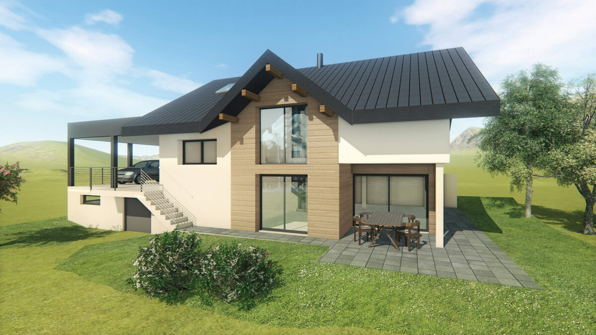 Maison particulier Chapeiry Haute-Savoie perspective - Ciel Architecture