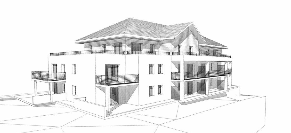 Atelier Ciel Architecte Terrasses Parmelan Neuf Collectif Filaire Projet Esquisse